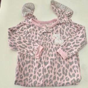 2T Carter's fleece one piece zip up pajamas/footie